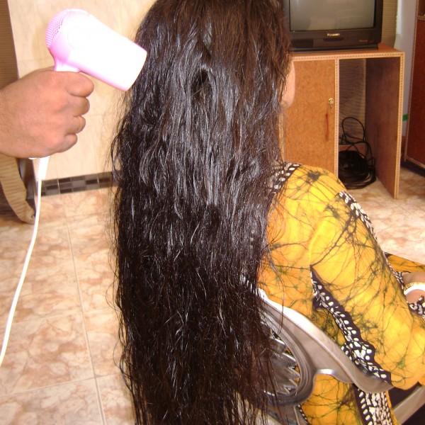 long hair washing