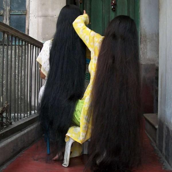 long hair aunty