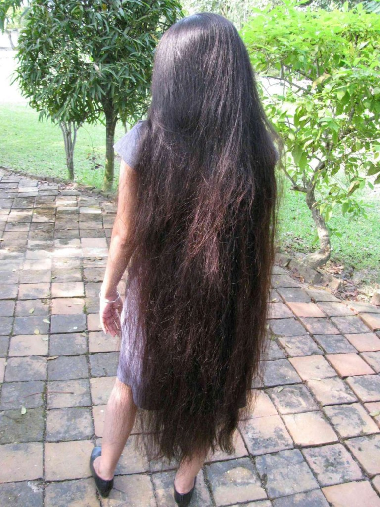 long hair lady in nature