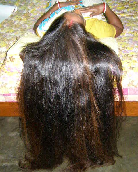 long hair smelling
