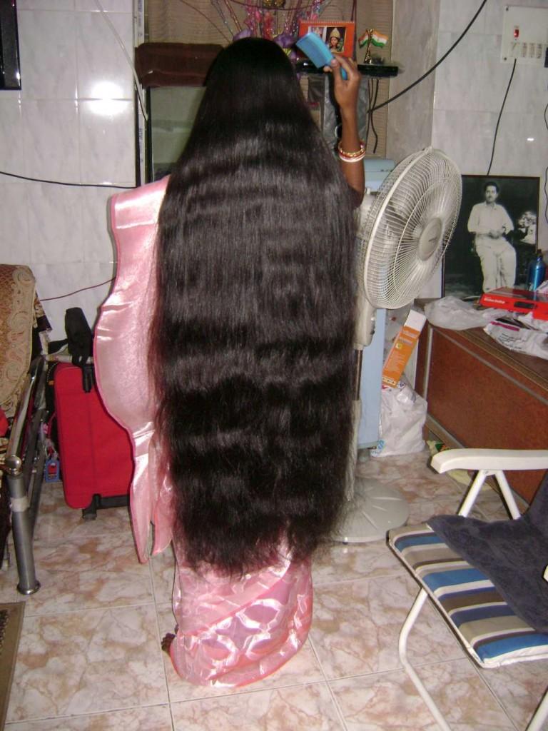 very long hair combing