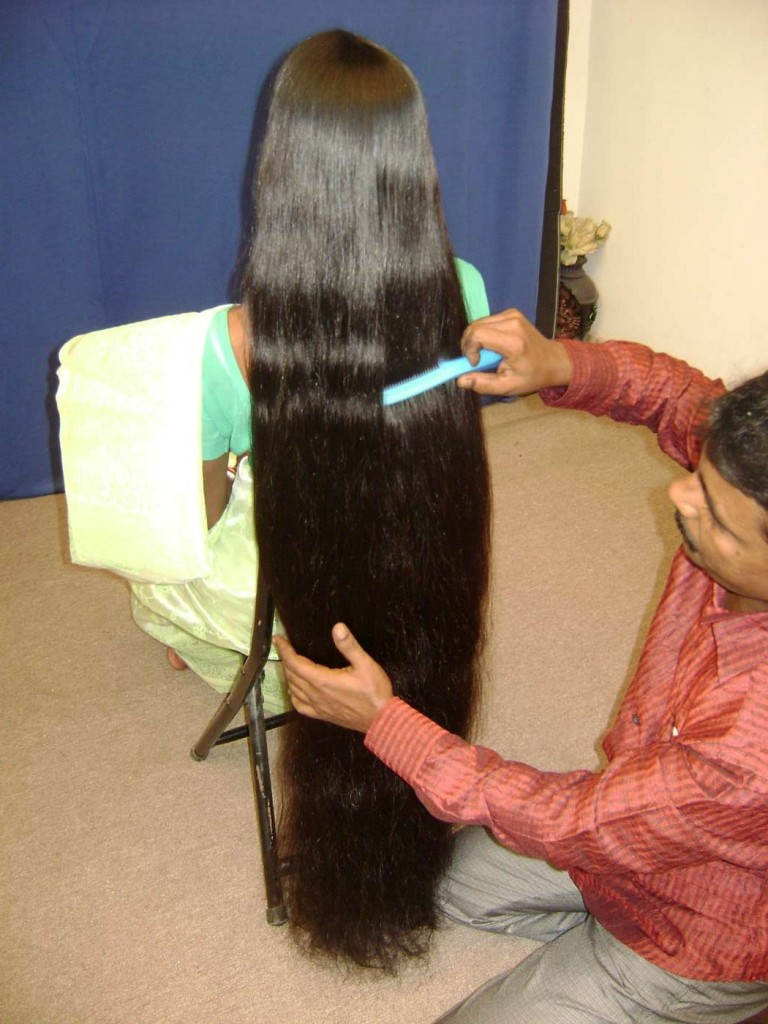 very long hair combing by husband