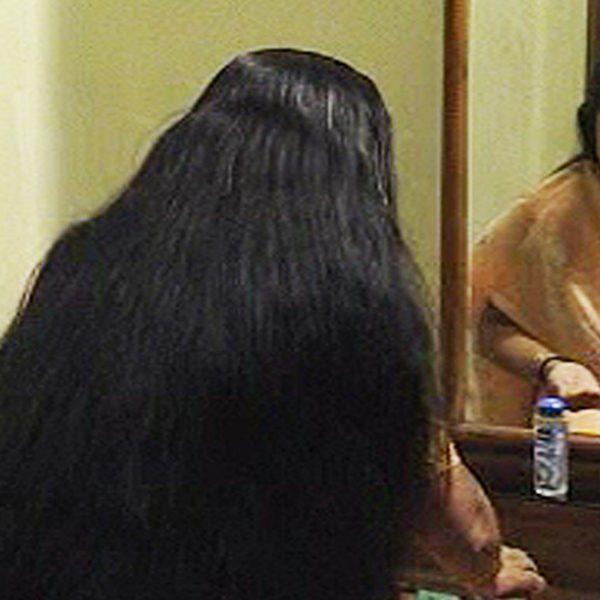 long hair oiling combing