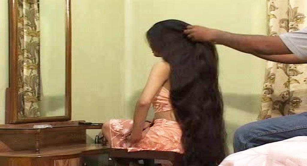 long hair brushing braiding