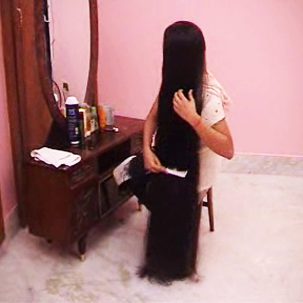 very long hair styling video
